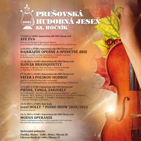 Prešovská hudobná jeseň 2021 - 55.ročník - PIESNE, TANGÁ, ZARZUELY
